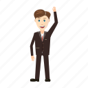 full, up, hand, length, businessman, cartoon, view icon