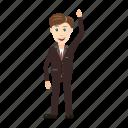 businessman, cartoon, full, hand, length, up, view