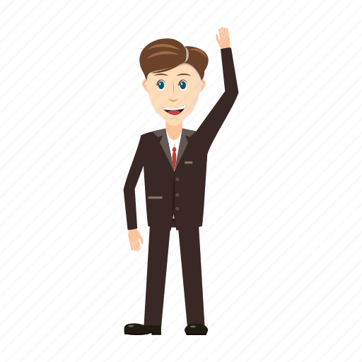 businessman, cartoon, full, hand, length, up, view icon