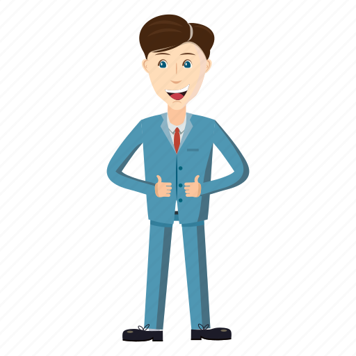 blue, businessman, cartoon, different, standing, successful, suit icon