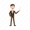 business, businessman, cartoon, hand, pointer, positive, standing icon