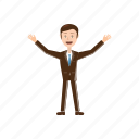 arms, businessman, cartoon, drawn, man, raised, sketch icon