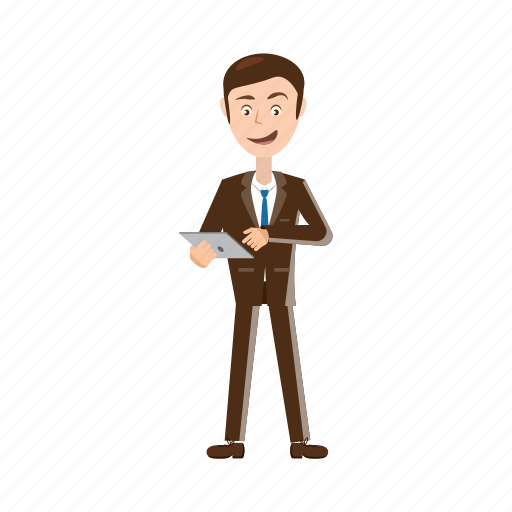 adult, business, businessman, cartoon, man, tablet, touch icon