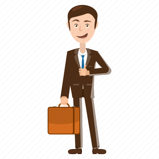 briefcase, business, businessman, cartoon, man, manager, standing icon