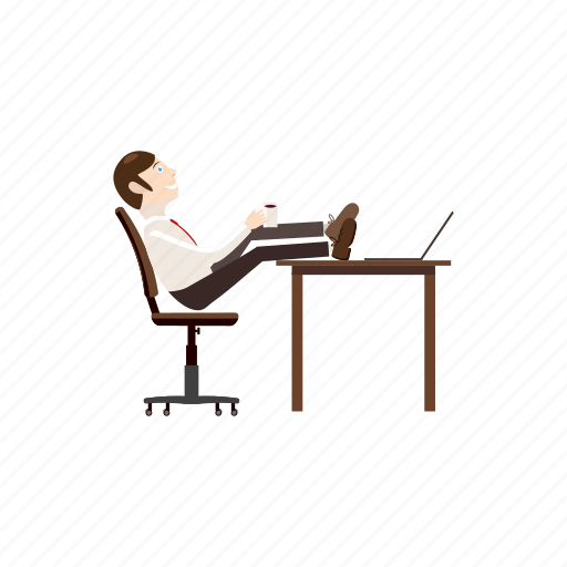business, businessman, cartoon, feet, his, sitting, table icon