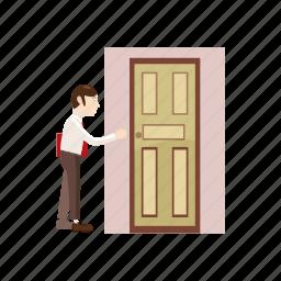 cartoon, door, folder, going, man, place, work icon