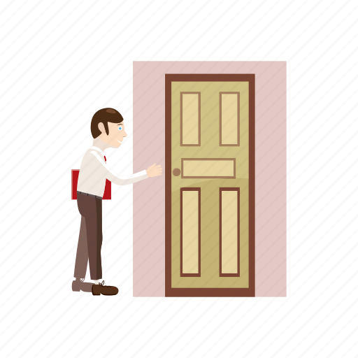 cartoon, door, folder, going, man, place, work icon