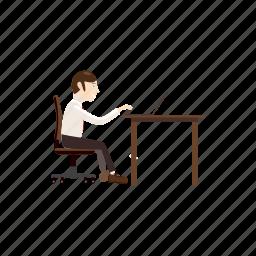 business, businessman, cartoon, computer, laptop, office, working icon
