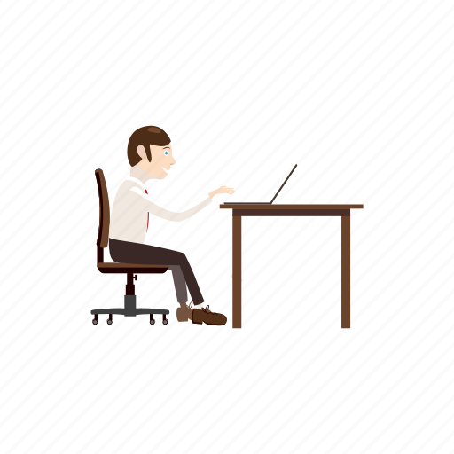 business, businessman, cartoon, computer, laptop, office, working icon
