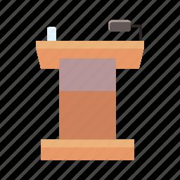 cartoon, orator, podium, public, rostrum, speech, tribune icon