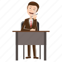 business, businessman, cartoon, cell, desk, phone, talking icon
