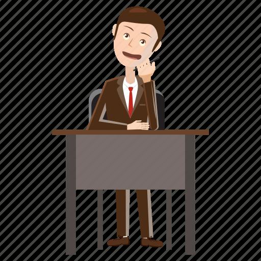 business, businessman, cartoon, cell, desk, phone, talking icon