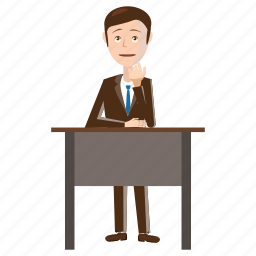 businessman, cartoon, chair, desk, office, sitting, table icon