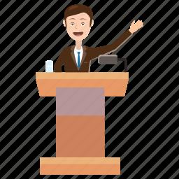 business, cartoon, man, podium, politician, report, speaker icon