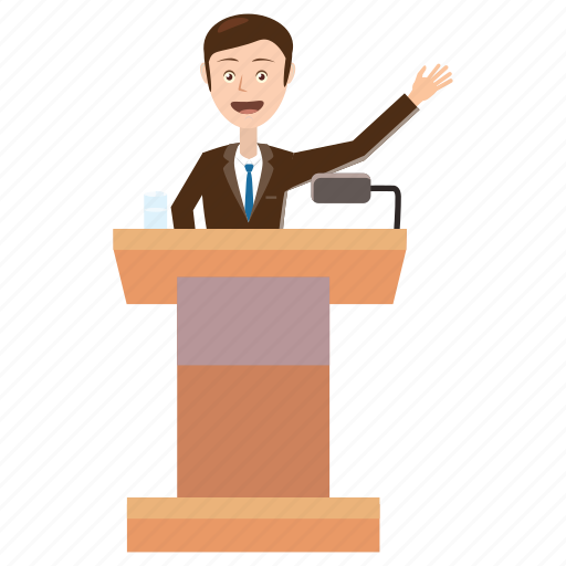 business, cartoon, man, podium, politician, report, speaker icon