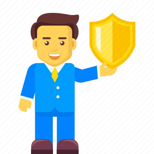 business, businessman, protection, secure, security, shield icon