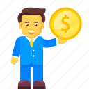 businessman, coin, dollar, finance, money, profit icon