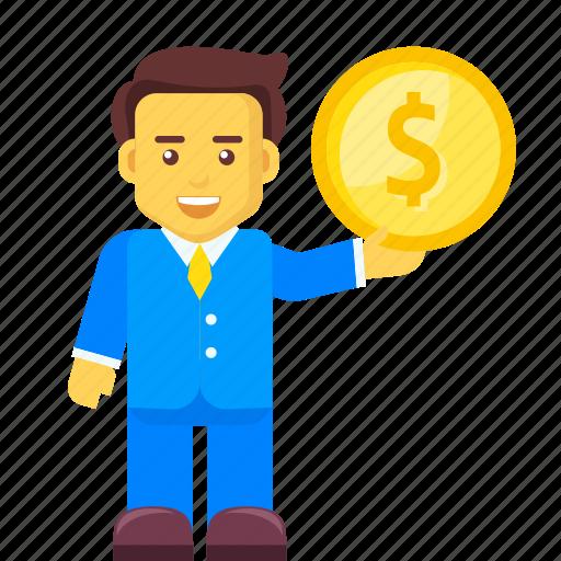 businessman, coin, dollar, finance, money, profit icon