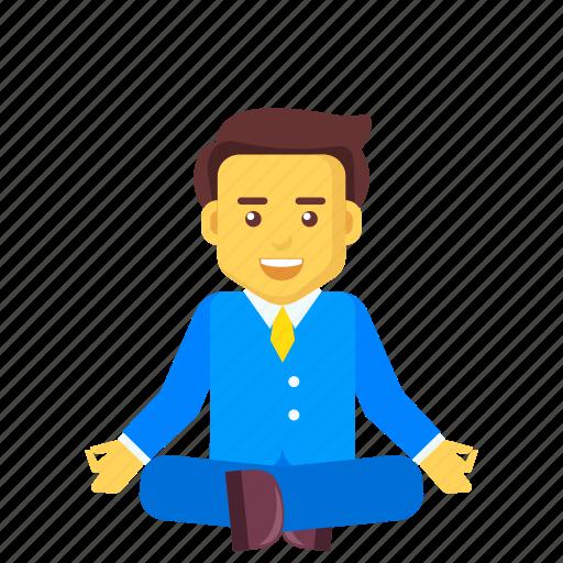 business, businessman, character, meditation, sitting, yoga icon