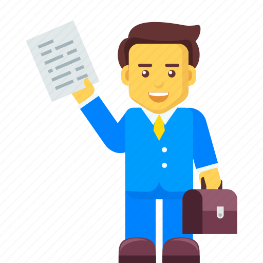 briefcase, business, businessman, character, document icon