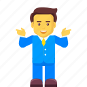 business, businessman, character, explaining, guide icon