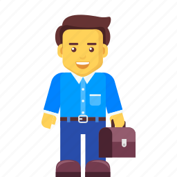 bag, briefcase, business, businessman, character icon