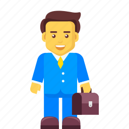 bag, briefcase, business, businessman, character, people icon