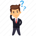 businessman scratching head, confused businessman, hard decision making, thinking business character, thinking businessman