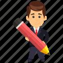 business character, business studies concept, businessman, businessman holding pencil, creative businessman icon