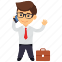 business character, businessman, businessman making a call, businessman on call, businessman telephoning icon