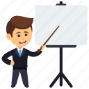 analyst character, business analyst, business analyst professional, businessman giving presentation, senior trading manager icon