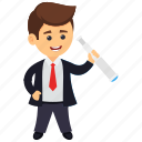 business vision, businessman mission, businessman with spyglass, prospects for future business, vision and mission icon
