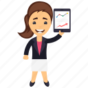 accountant, analyzer, business analyst, data scientist, female business analyst icon