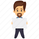 business character, business evaluation, business protest, businessman holding placard, protesting businessman icon