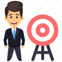 business achievement, business aim, business goal, business mission, businessman aim icon
