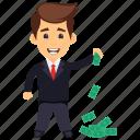 business profit, businessman with cash, businessman with money, money man, rich person icon