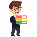 business character, business record keeper, businessman holding files, businessman with files, tired businessman icon
