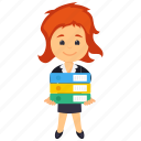 business character, business record keeper, businesswoman holding files, businesswoman with files, tired businesswoman icon