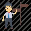 board, direction, employee, man, user