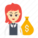 bag, dollar, employee, girl, money
