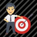 achievement, employee, goal, target, user icon