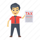 character, invoice, report, tax, user icon