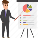 analytics, business, businessman, graph, presentation, stats icon