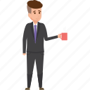 businessman, businessman with tea, man holding tea icon