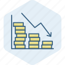 diagram, down, fall, graph, loss, report, revenue icon