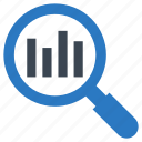 analysis, chart, graph, magnifier, search icon