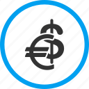 banking, currency, dollar, euro, finance, financial, money icon
