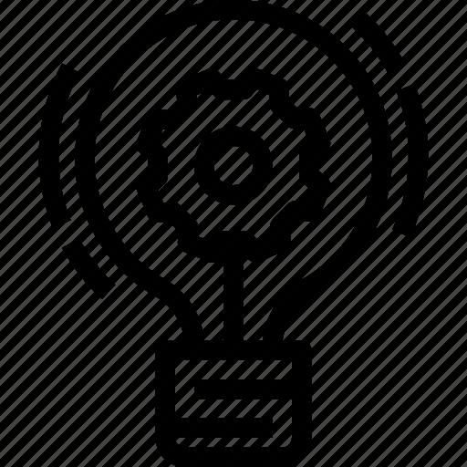 creative, creativity, gear, idea, innovation, process icon