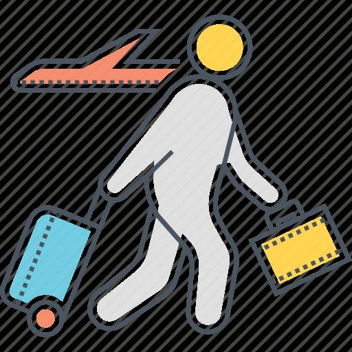 business travel, digital nomad, traveler, traveller icon