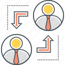 career advancement, job rotation, job transfer, work shifts icon